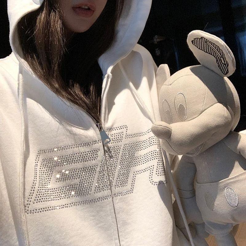 Y2K Fashion strass zipper surdimensionné sweats à hoodies e-girl vintage lettre solide manche longue manches longues sweatshirts automne tenues q0116