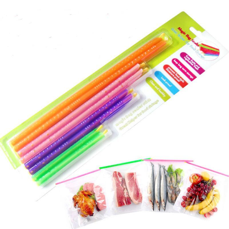 100sets New Arrival Magic Bag Sealer Stick Unique Sealing Rods Great Helper For Food Storage Sealing cllip sealing clamp
