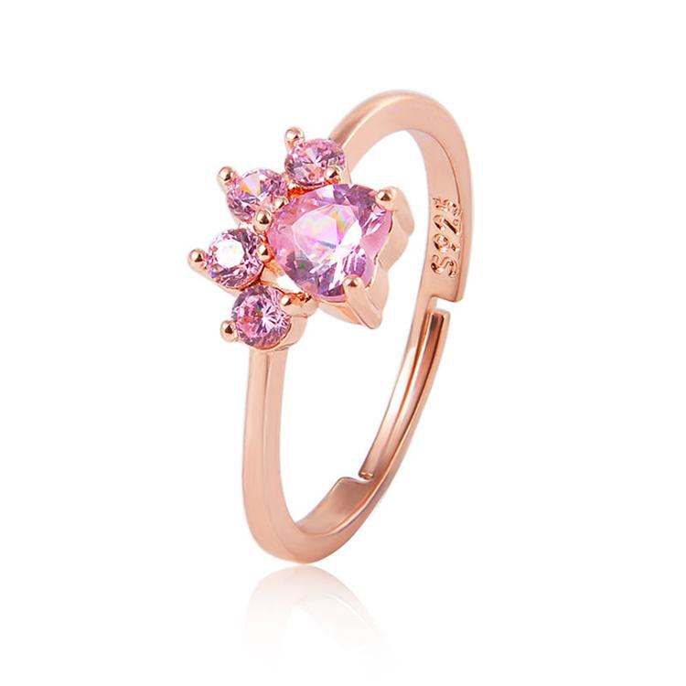 Neue Mode Rosa Kristall Ringe Herz Cubic Zirkon Quarz Katze Pfotenring Druck Romantische Frauen Hochzeitseinstellbare Tierschmuck Geschenke