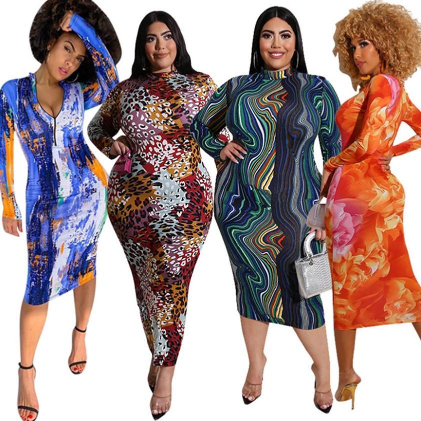 Plus Size Donne Abiti da donna Skinny Gown Abito con cerniera Gonne manica lunga Abbigliamento aderente Bodycon Dress S-5XL 4 colori Abbigliamento anteriore e posteriore 4235