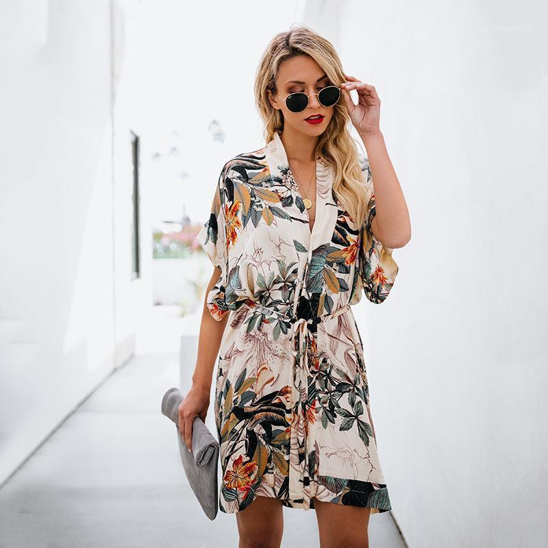 Sexy floral blatt druck kurze boho sommer kleid 2019 v neck button mini strandkleid frauen casual damen kleider frauen kleidung1
