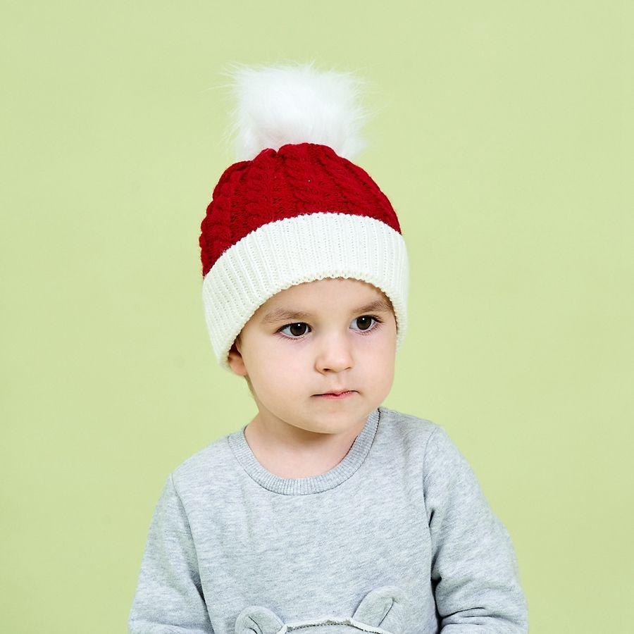 Christmas Kid Hat Pom Pom Knitting Winter Warm Soft Baby Toddler Crochet Beanie Ear Cover Xmas Green Red Child Knitted Hats LJJP799-2