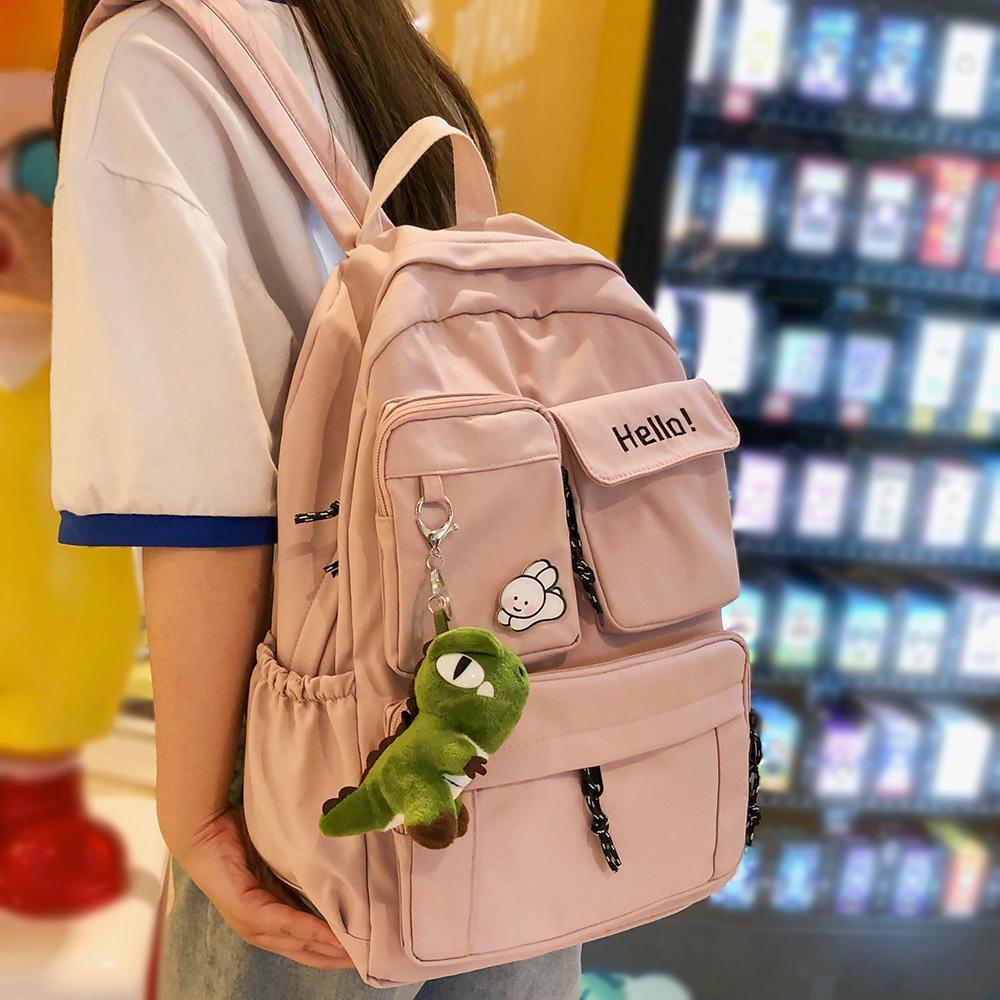 Girl Student Cute Backpack Embroidery College Book Fashion School Lady Best Kawaii Backpacks Mesh Nylon Women Bag Female New Q1113