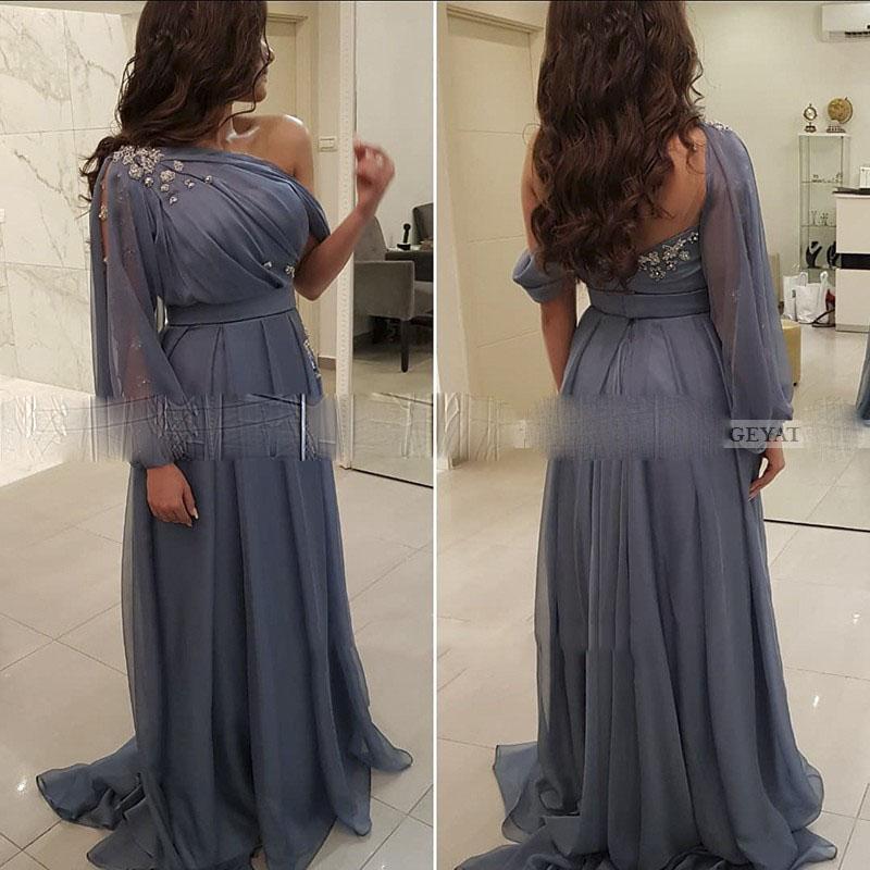 Élégante une épaule bleue robe de soirée arabe manches longues robes formelles de Dubaï pour femmes robes de fête plus taille