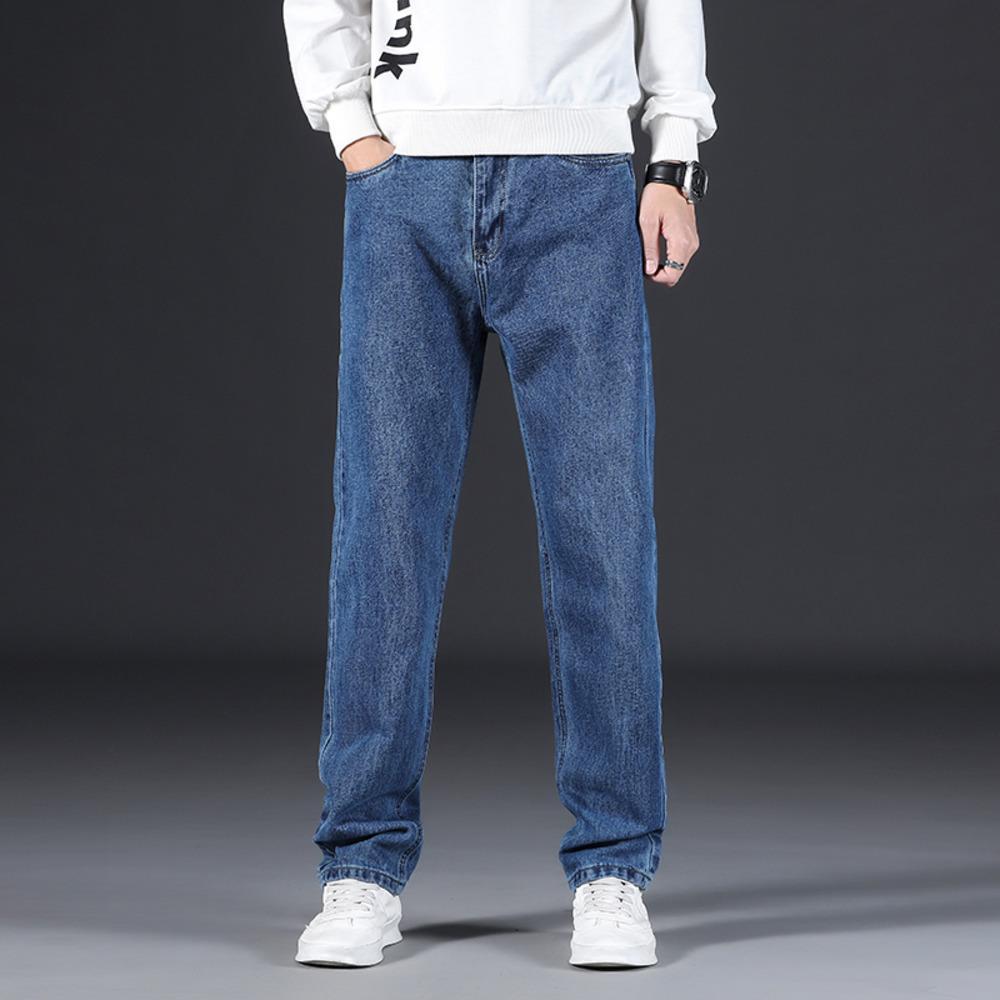2021 Nova Primavera Masculina Casual Jeans Loose Reta Alta Qualidade Azul Denim Calças Marca Outono Moda Moda Alta Cintura Calças H1209