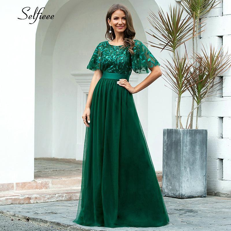 Новое украшение платье женщин элегантный A-Line O-SEEL FLARE рукава блестящие длинные формальные платья партии для женщин плюс размер X-9XL 2020 C0121