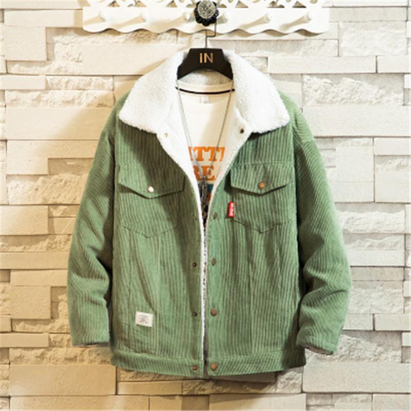 Homme veste côtelé veste veste mode mode tendance à manches longues cardigan épaissir manteaux occasionnels masculin hiver bouton lambet fourrure de fourrure