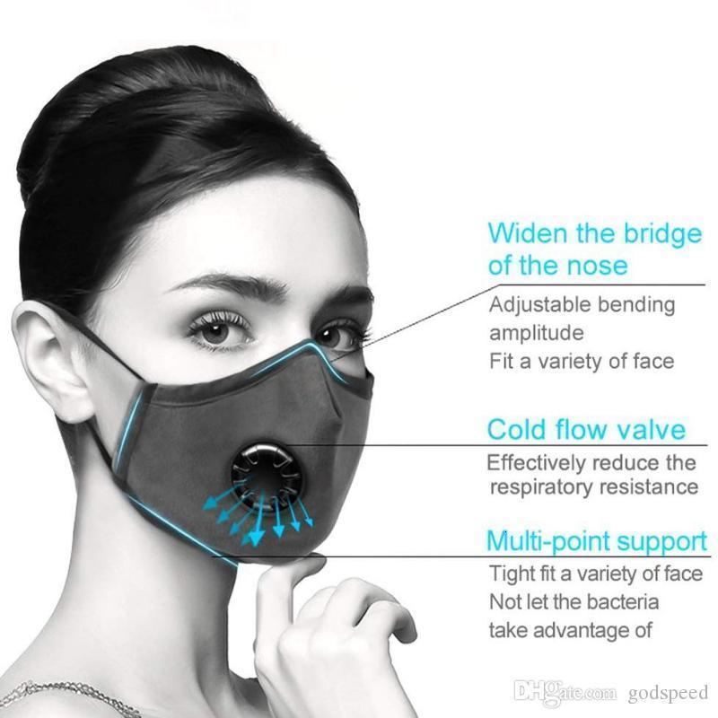 R8IXPollution Waschbar PM2.5 Atemschutzmaske Wiederverwendbare Anti Masken mit 2 stücke Filter Unisex Mund Muffel Allergiker / Asthma / Tr