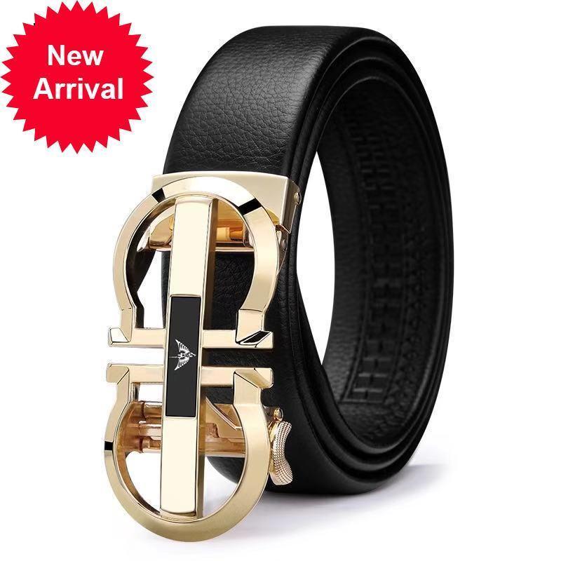 Marque de luxe de luxe hommes véritable bracelet en cuir pour la boucle automatique de la ceinture d'or pl18335-36p-