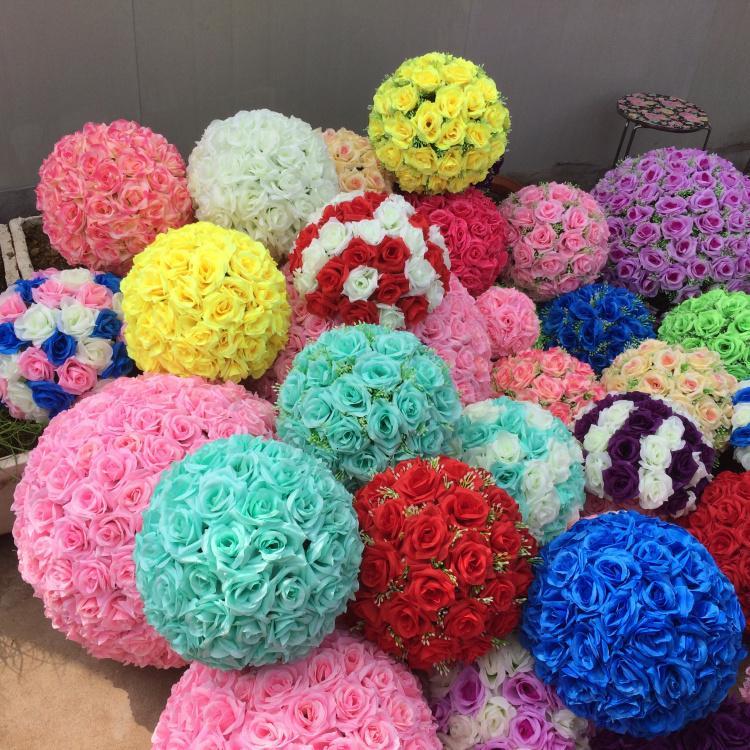 24 bälle 24 rose farben 6 gefälschte blumen zoll künstliche seide blume rosen küssen kugel hochzeit dekoration stieg für hochzeitgarten party