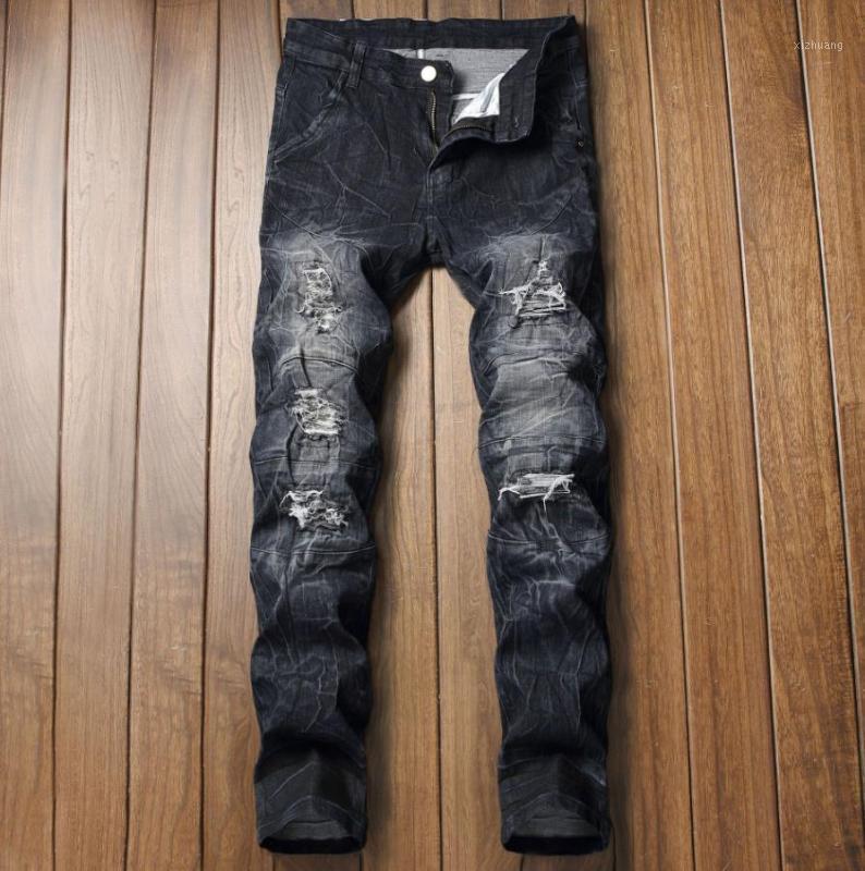 Jeans Mens Dritto uomo Casual Strappato Stretch Denim Pants Holes Designer Pantaloni Designer Vita elastica Big Size European W28-W421