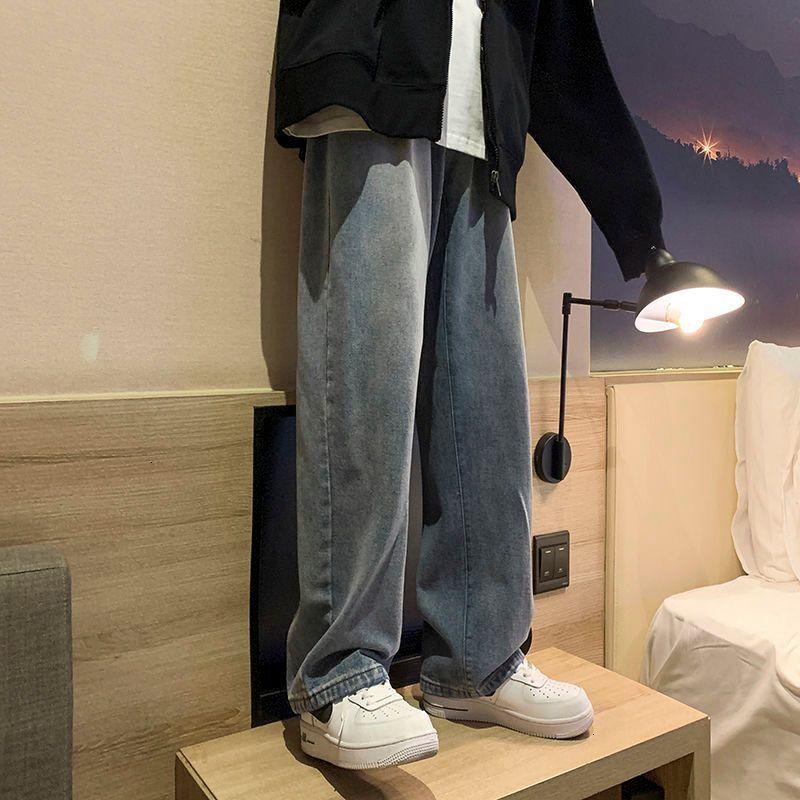 Moda allentati diritti dei jeans 2020 New Winter Donna Casual Jeans Mans Streetwear coreana Collage Hip Hop Privathinker Uomo Jeans C1115