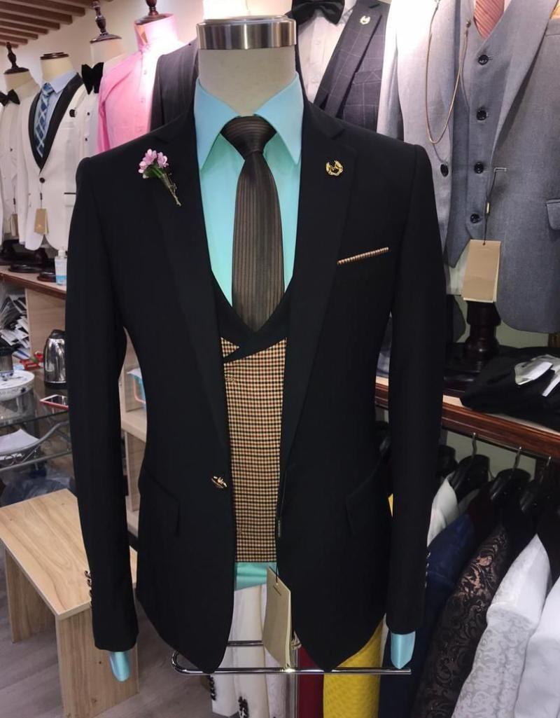 Costumes pour hommes Les blazers conçoivent des hommes noirs pour les affaires de mariage Tuxedo Blazer Blazer Homme Set Singeuse Stage Robe Vest Pantalon Veste 3 pièces
