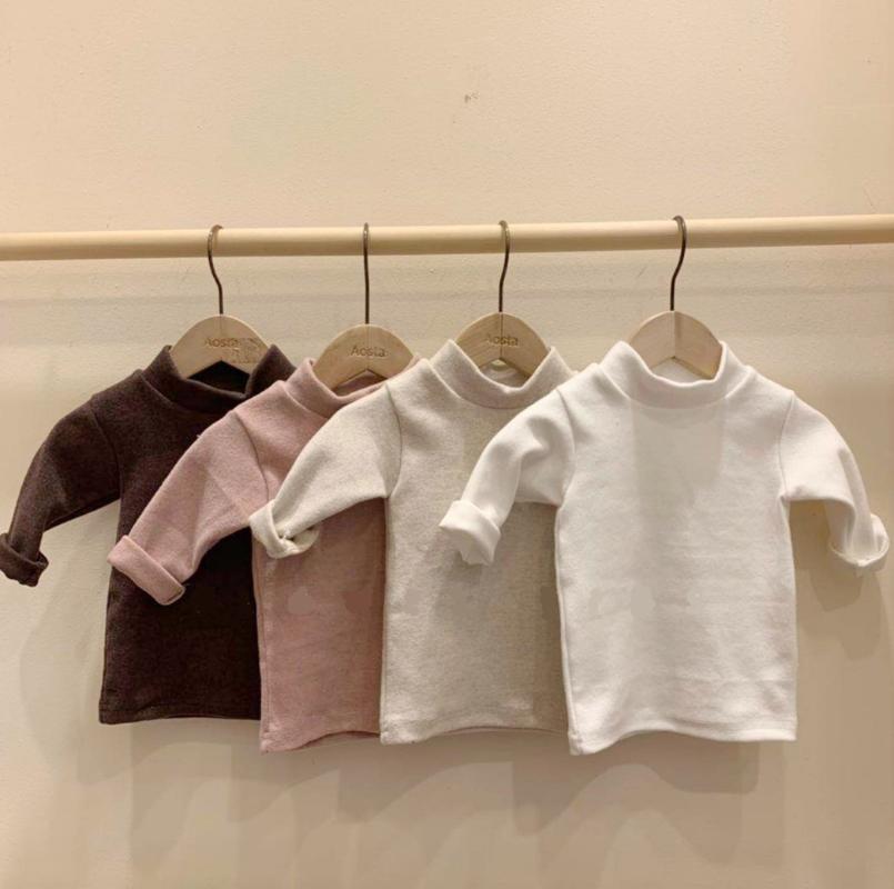 Primavera y otoño bebé camisetas Base camisa bebé color puro algodón cuello medio alto manga larga todas -matching top