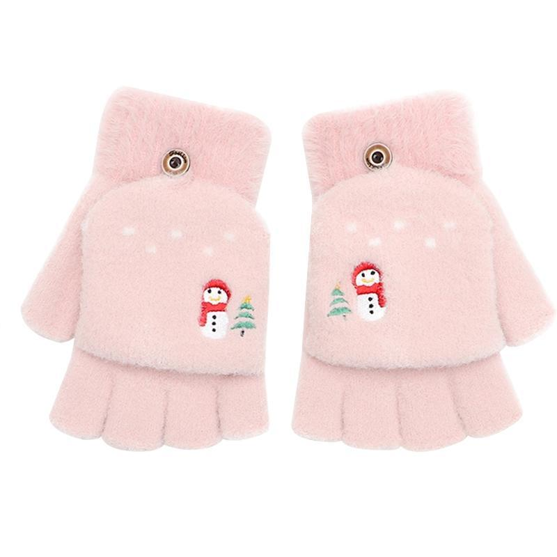 5 손가락 장갑 1 쌍 여자 겨울 따뜻한 터치 스크린 귀여운 눈사람 감각 손가락 니트 솜털 옥외 플립 커버 장갑 ·