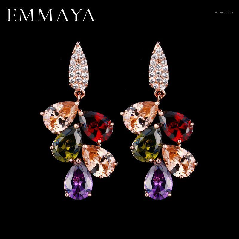 Эммая Кубический цирконий Классический большой капель кристаллические серьги с Tiny CZ Роскошные свадебные свадебные серьги для женщин1