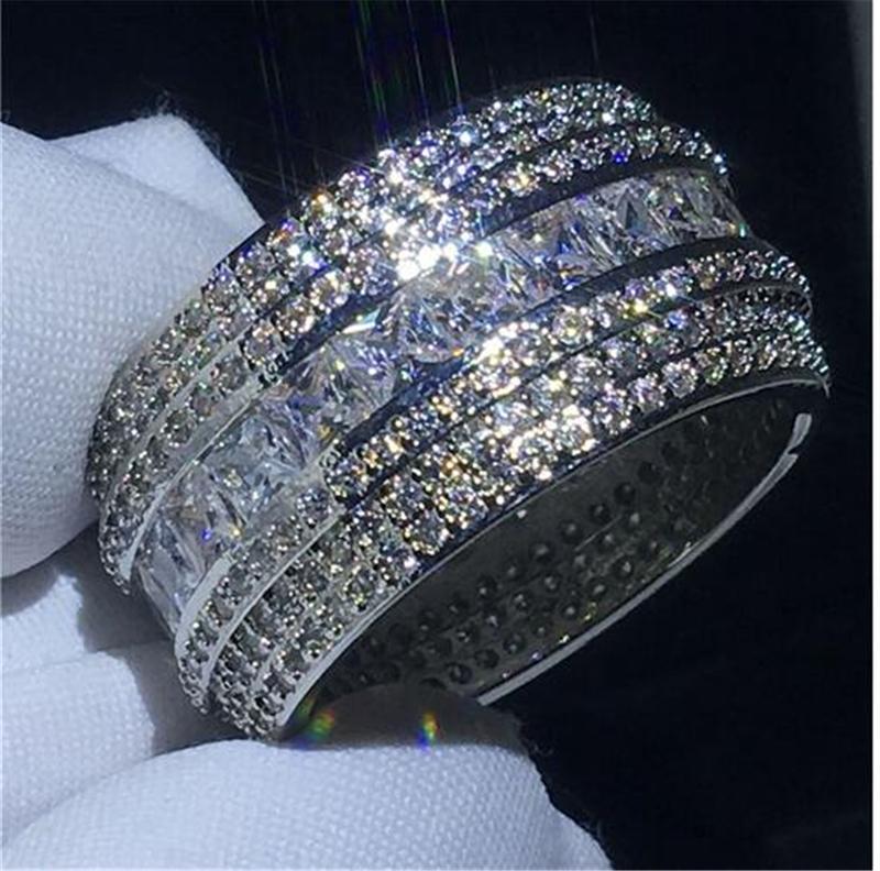 Luxo grande zircão pedra 925 prata esterlina anéis de banda redonda para mulheres jóias de moda 2021 novo anel de noivado de casamento J1208