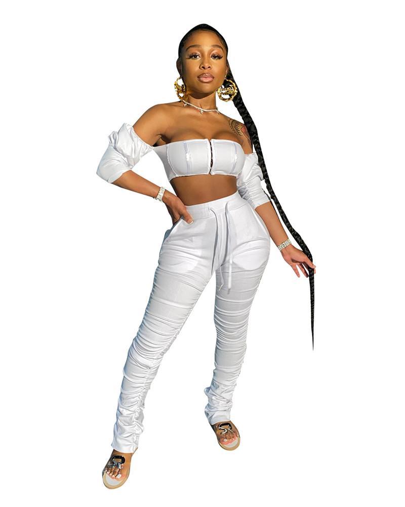 Seksi Slash Boyun Bayan İki Parçalı Pantolon Moda Yığılmış Tasarımcı Bayan 2 adet Setleri Ince Bayan Giyim