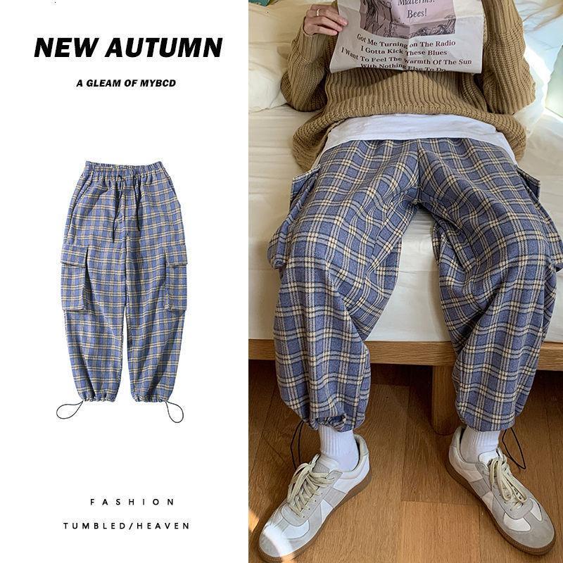 2021 мужская свободная прямая женщина повседневная клетчатка негабаритные брюки осень зима Новый теплый мужчина японские штаны японских стилей VL8Y