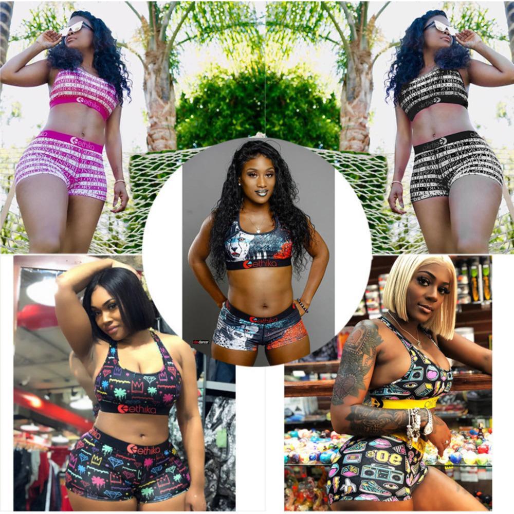 Designer Designer Costumi da bagno Ethika Sport Bra + Pantaloncini Trunks 2 pezzi Brand Tracksuit Quick Dry Beachwear Beachwear Bikini Set Abbigliamento 2021