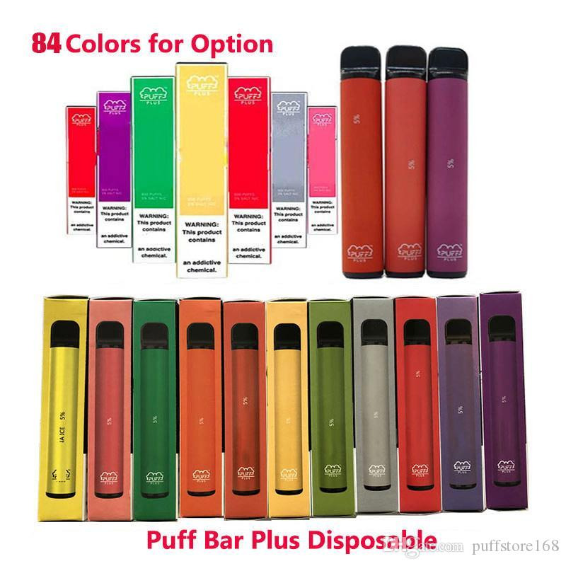 84Colors Puff Barras Plus 800 + Puff Cartucho de POD descartável 550mAh Bateria 3.2ml Pré-preenchido Vapo Vapagens Stick Style E Cigarro VS Puff XXL Bang