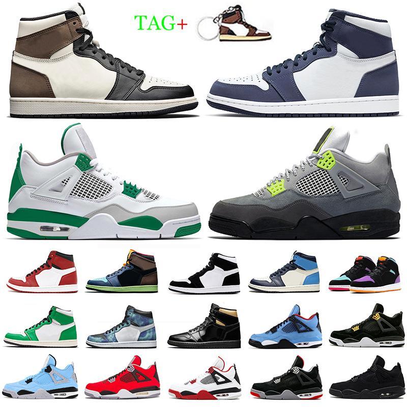 1 Obsidian Men Basketball Shoes 1s Black Toe Pine Green UNC Shattered Backboard 4 4s Black Cat Neon White Cement Mens Sport Sneakers