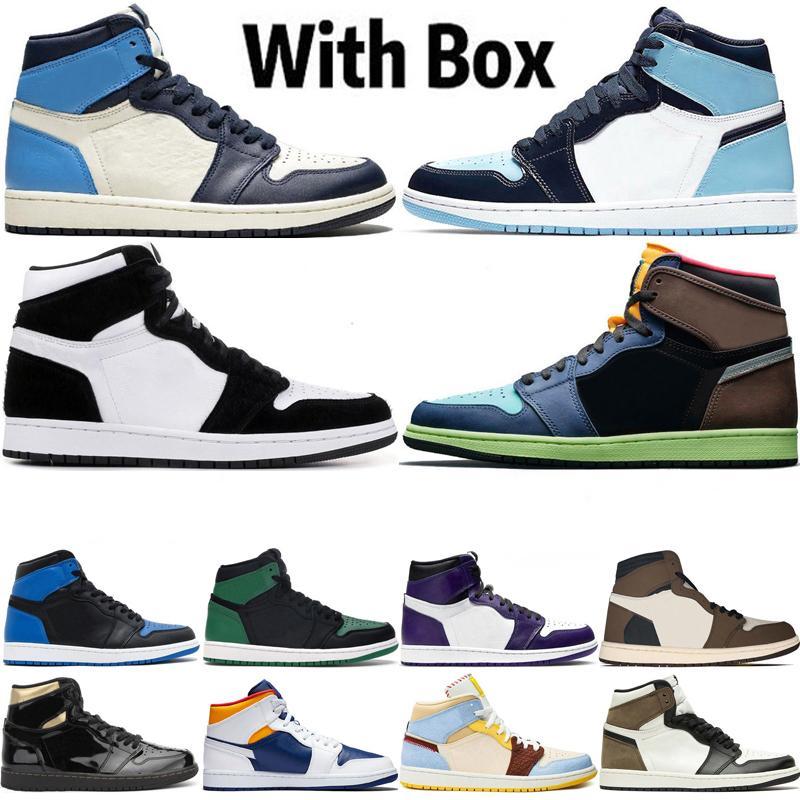 2020 com caixa jumpman 1 1s mens basquete shoes obsidiano UNC TWIST Travis Scotts Turbo Green Top Chicago Sport Trainers Sneakers Tamanho 36-47