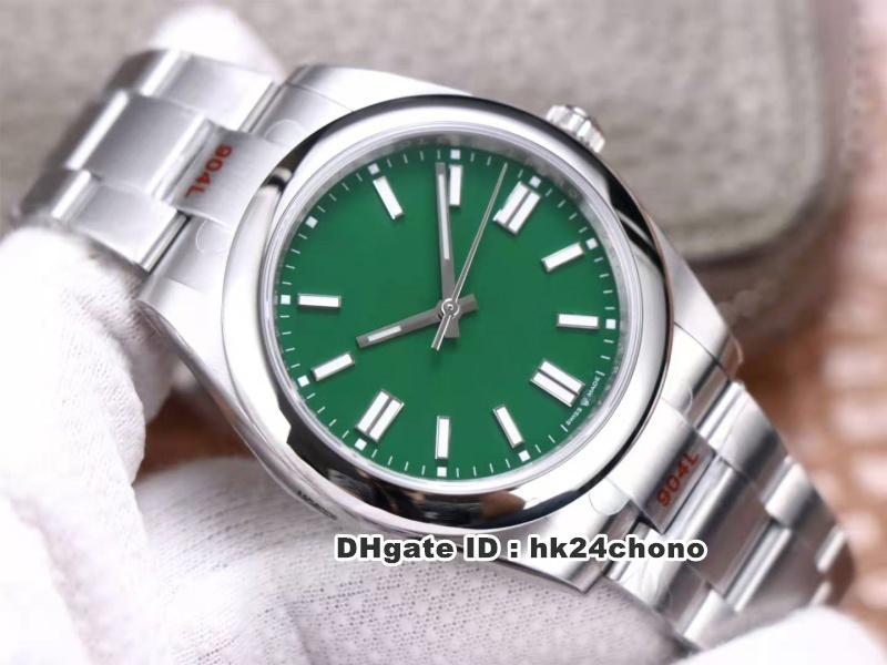 2020 Nuevo EW 904L Acero 41mm Cal.3230 Reloj automático para hombre 124300 Sapphire Green Dial 904L Pulsera de acero inoxidable Gents Relojes