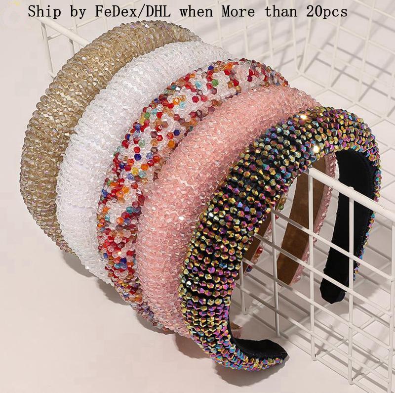 Crystal Pein Hoops Luxury Hair Bands Shiny acolchado DIEADA DIEADA DIEADOR Mujer Headwear Boda Tocado Boutique Girls Accesorios para el cabello DW5881