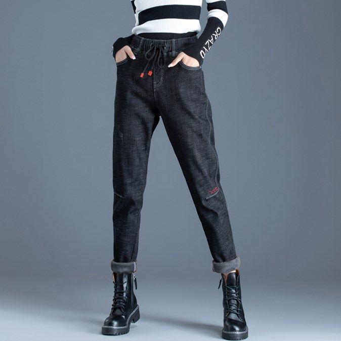 Harem Jeans para mulheres cintura elástica em linha reta, calças soltas, cintura alta, bordado moda e estilo de personalidade