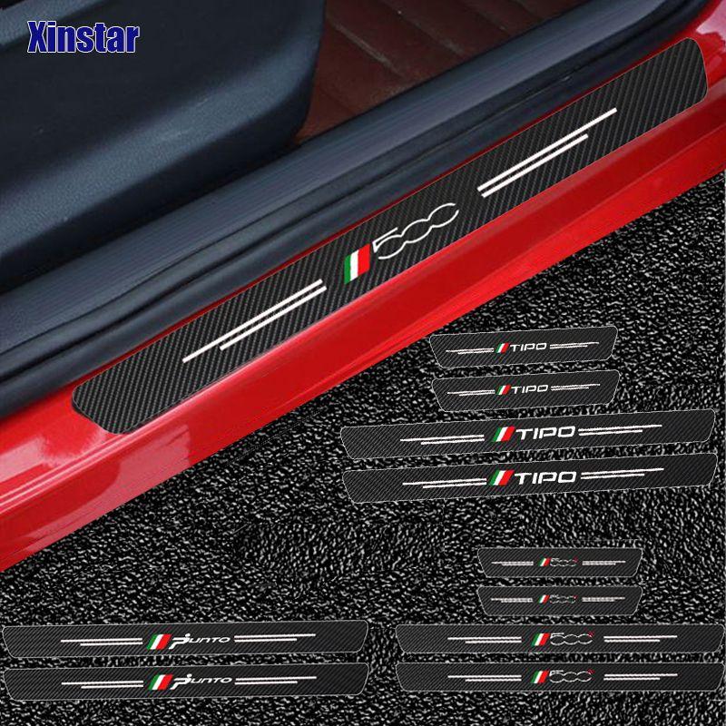 4PCS ألياف الكربون باب السيارات العتبات الحراس ملصقا ل فيات باندا 500 500x 500l تيبو بونتو