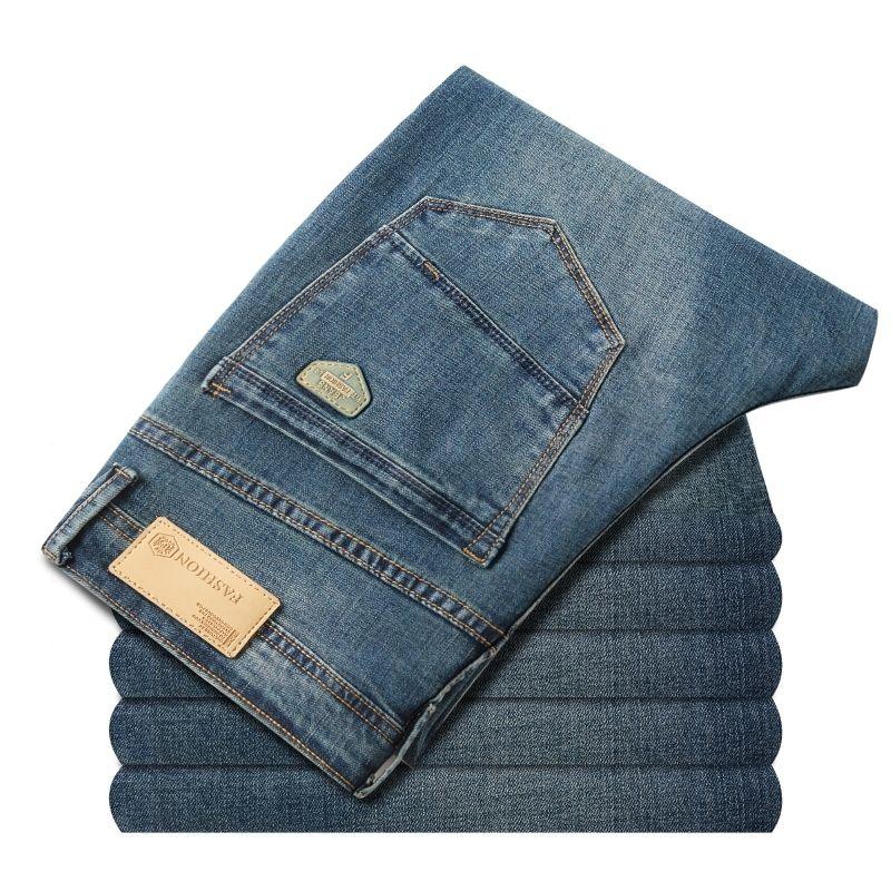 Men's Plus Size 40 42 Classic Casual Primavera autunno jeans estivi uomini Stretch Straight Long Pantaloni
