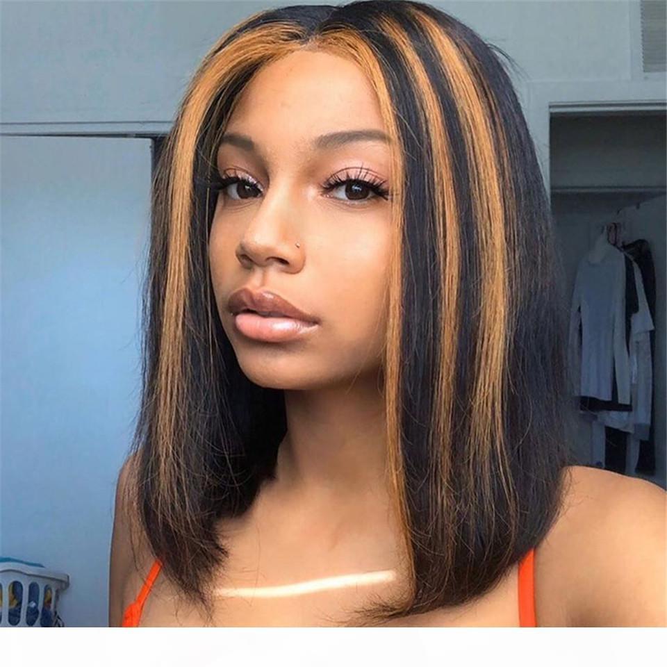 Highlights Color Full кружева человеческие волосы парики короткие боб парик бразильские ременные волосы 13x6 глубокая часть кружева передний парик 12 дюймов 150% плотность