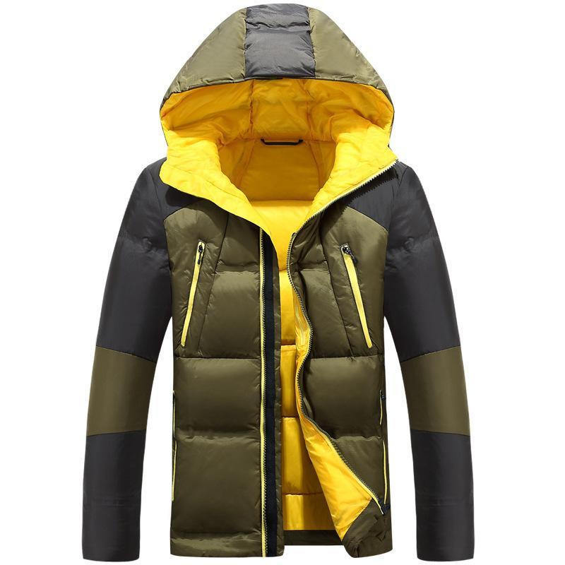 2020 invierno nuevo pato blanco pato abajo chaqueta de moda casual espesado encapuchado cálido resistente frío abrigo masculino marca ropa