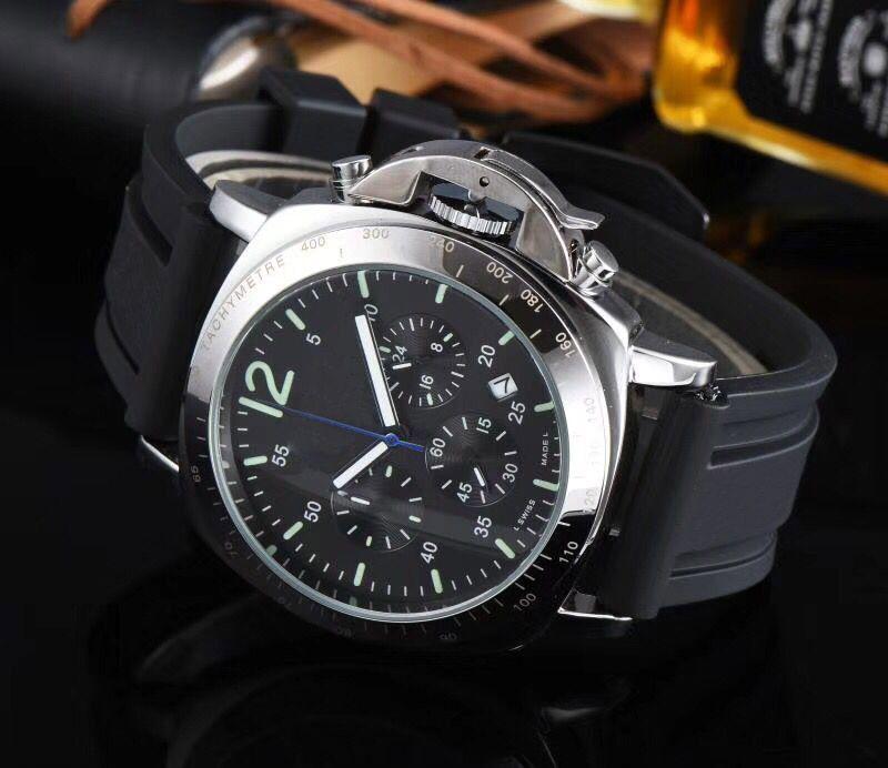 En çok satan erkekler marka spor saatler birden fazla zaman dilimi kronograf gümüş çerçeve silikon kayış erkek askeri izle montre homme