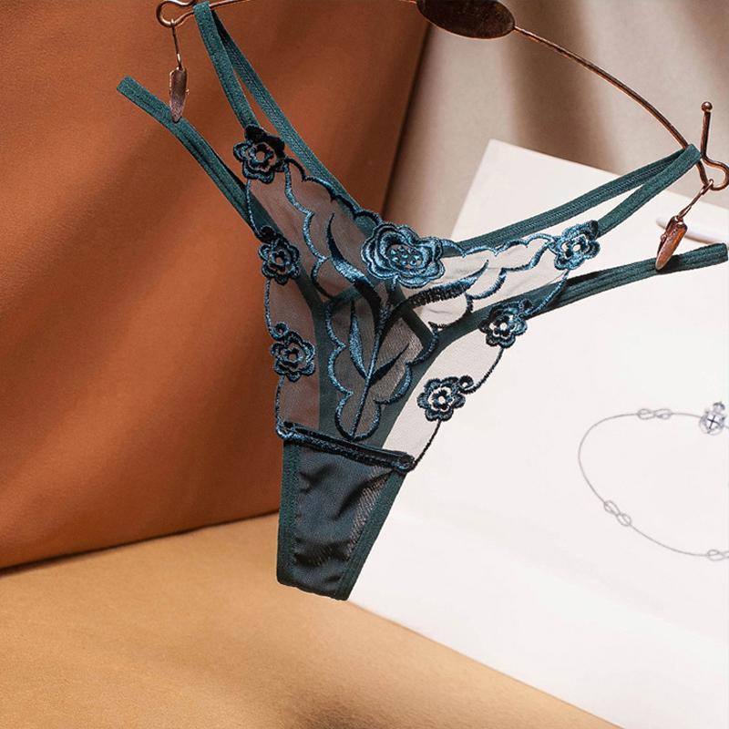 Sexy bestickte Mesh-Garn Damen Tanga Transparent Perspektive Junge Frau Versuchung Unterwäsche Mode Hot T Pants G-String