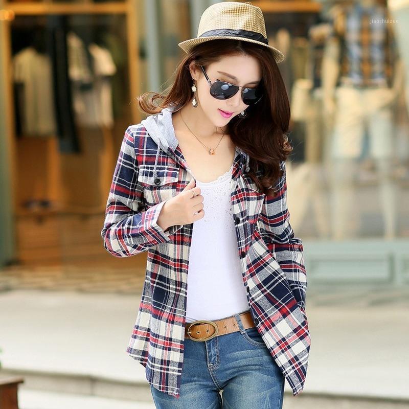 2020 mulheres outono slim xadrez camisa casual moda blusa de mesa coreano camisas de manga longa blusas camisa femininas algodão top1