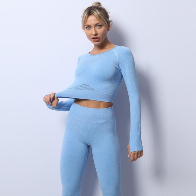 Alto rendimiento al por mayor deporte corriendo ropa de yoga sin fisuras moda manga larga conjunto superior