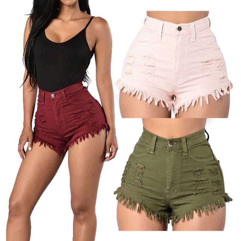 Style chaud High Denim Fashion Jeans courts pour femmes Beach Casual Slim Taille Sexy Tassel Tassel déchiré Short