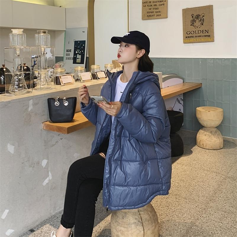 Women's Winter Coats Fashion hooded Collar Parkas Winter Jacket Women Pockets Padded Cotton Coat 201211