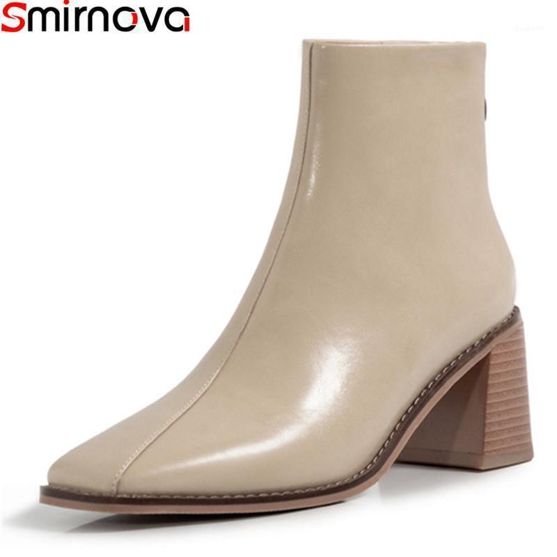 Смирнова 2021 Новое Прибытие Женщины Ботинки Осень Зимняя Мода Дамы Обувь Высокое Качество Черный Абрикос Цветовая Лодыжка Boots1