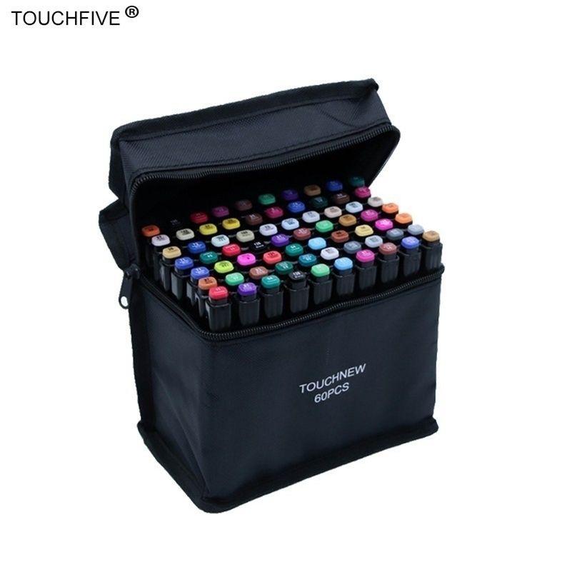 TouchFive 30/40/60/80/168 Cores Definir marcadores Álcool Tinta Óleo Dual Brush Caneta Manga Estudante Esboço De Desenho De Desenho Arte De Arte Fontes 20118