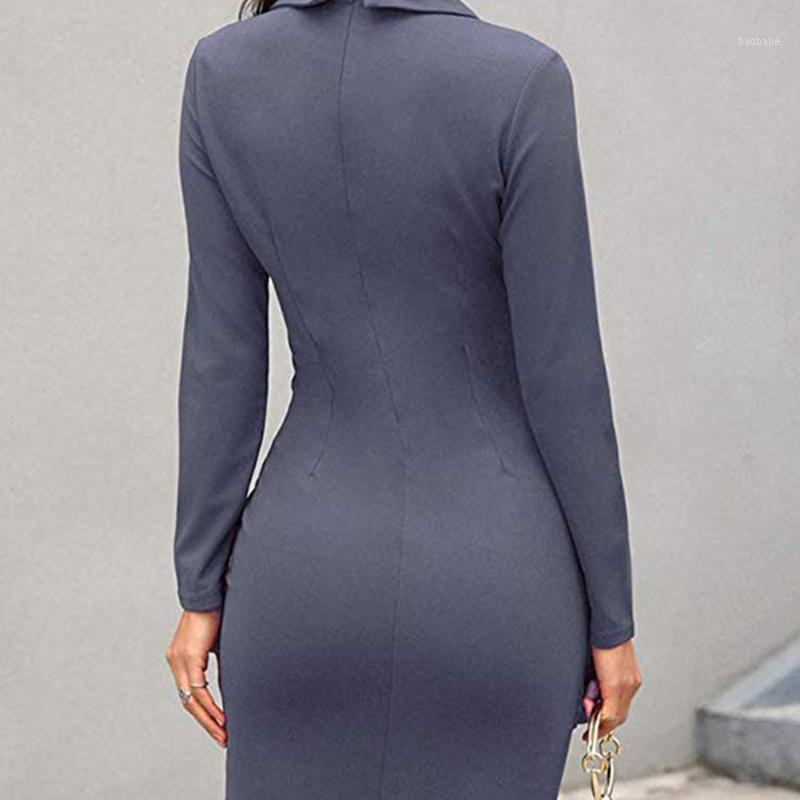Femmes festives robe de gaine de revers Business sexy Bormon élégant Solide genou Longueur de cocktail Soft Cocktail Party Casual Dames Office1