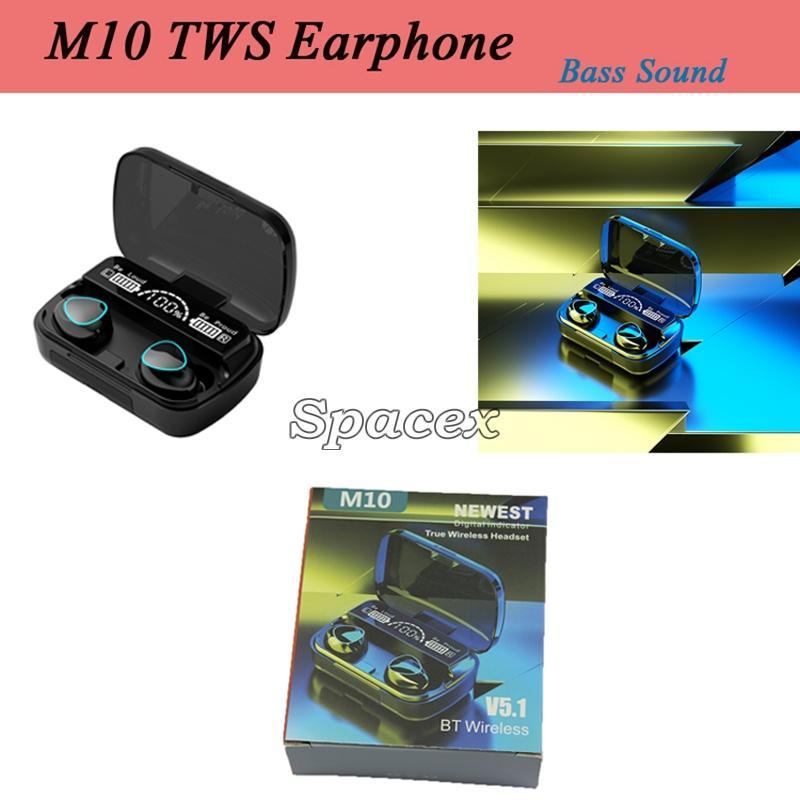 Kalite M10 Bas Ses Stereo TWS Kablosuz Kulaklıklar Bluetooth Kulaklık Spor Dokunmatik Kontrol Mini Su Geçirmez Kulakiçi