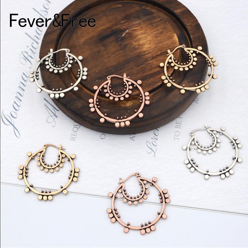 FeverFree nuova annata Piccolo orecchini a cerchio per le donne oro antico rotondo del cerchio Orecchini Marca Aretes gioielli etnici 2020