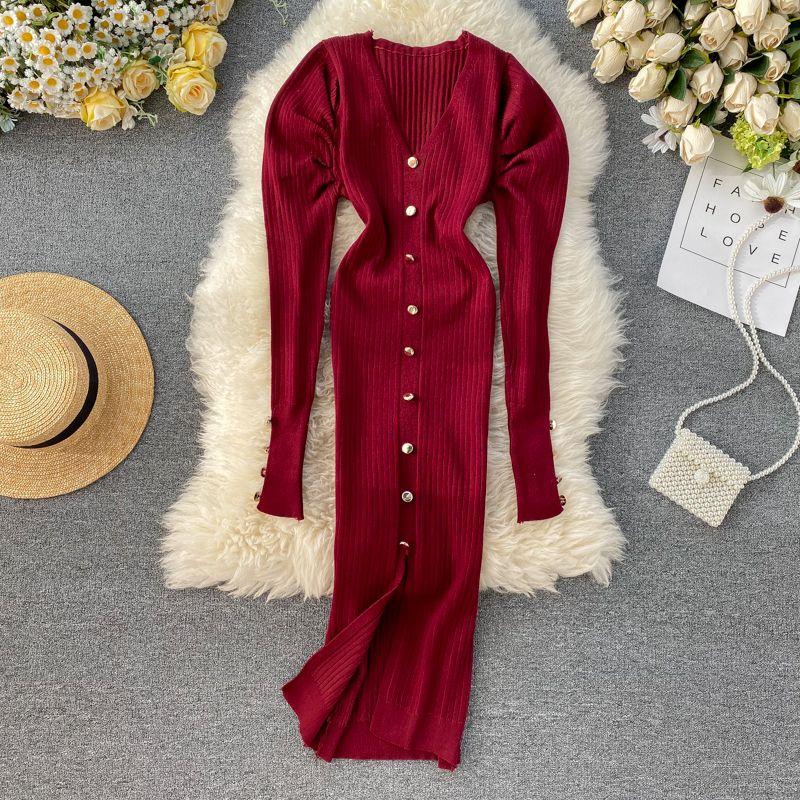 Croysier Hiver Pull Robe Femmes Puff face à manches longues V tanière Vintage élégant tricoté Robes Midi Slit Sexy Sexy Robe Y0118