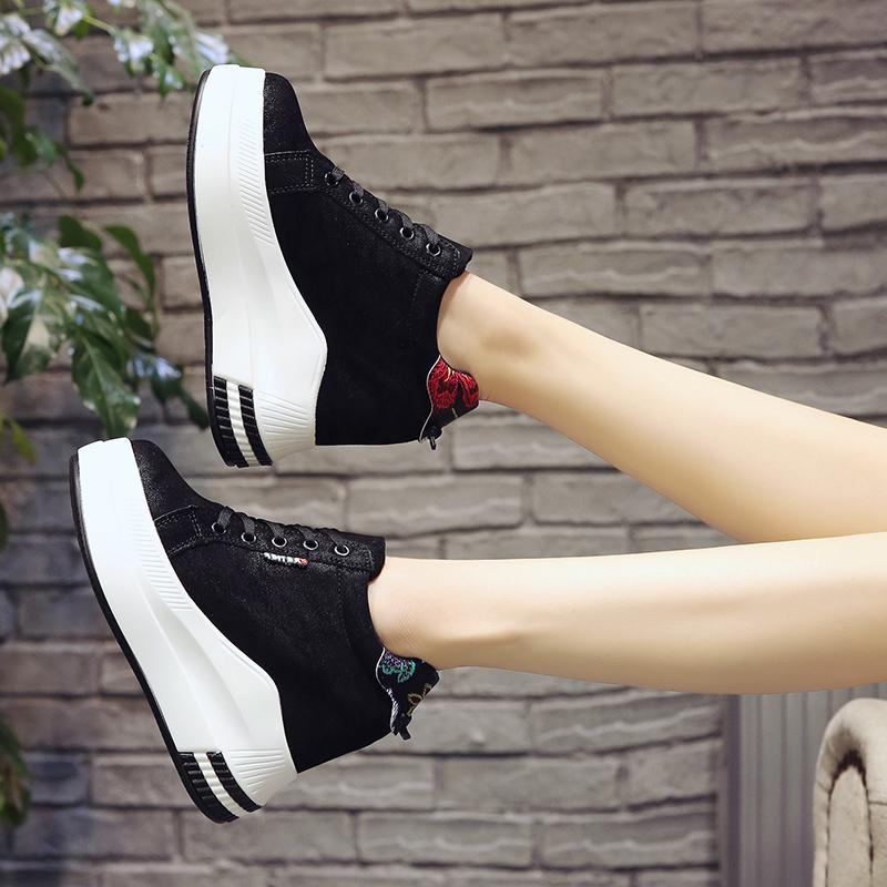 2020 Fashion Autumn Women Ankle Boots Platform Shoes Wedges High Heel Winter Boots Sneakers Height Increasing Shoes Woman LJ201030
