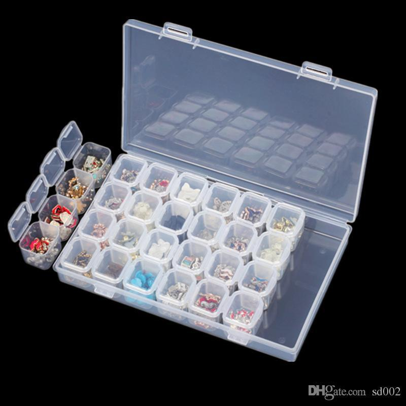 28 Lattices Jewelry Boxes Transparent Diamond Painting Storage Box Cross Stitch Mini Case Brief Useful Manicure Supplies 3 7px XB