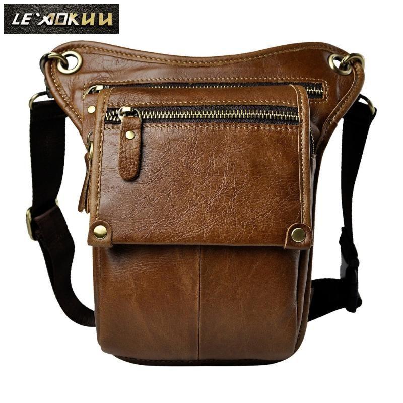 Hombre de cuero original Moda casual Hombro pequeño Messenger Sling Bag Design Travel Cintura Paquete de cinturón Paquete Bolsa de pierna Drop 211-4L