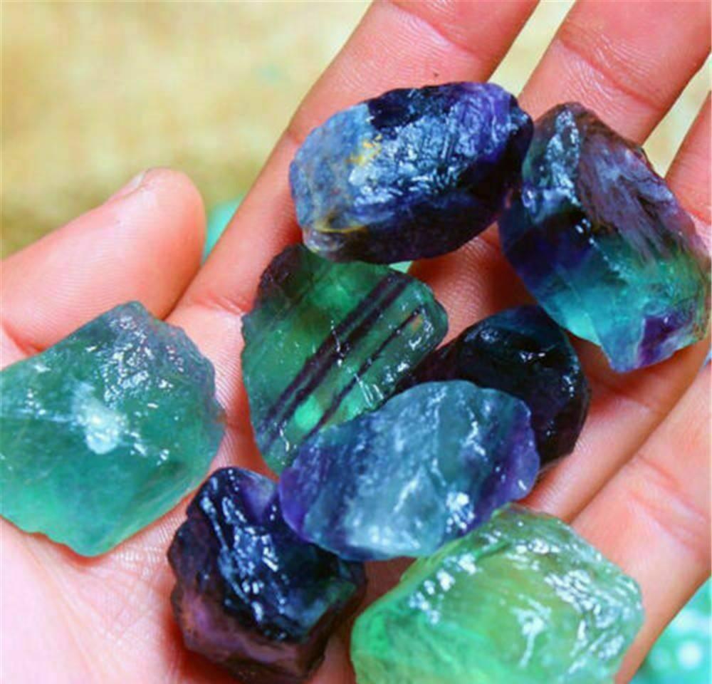 Crystal Fluorite Quartz Crystal Crystal Guérarie Traitement de pierre naturelle Traitement de pierre à rayures colorées 1 pcs sqcai ppshop01